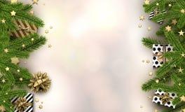 Fundo do Natal com ramos e presentes do abeto Imagens de Stock