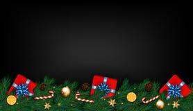 Fundo do Natal com ramos, presentes e doces do abeto Vetor Fotografia de Stock