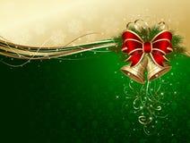 Fundo do Natal com sinos e curva decorativa Fotografia de Stock Royalty Free