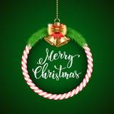 Fundo do Natal com texto escrito à mão Imagens de Stock