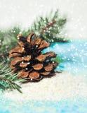 Fundo do Natal com uma neve e um pinecone Fotos de Stock Royalty Free