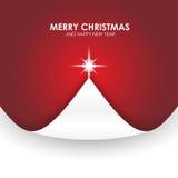 Fundo do Natal com vermelho da aleta do papel da árvore de Natal Imagem de Stock