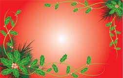 Fundo do Natal com visco e uma pele-árvore, vetor Fotos de Stock Royalty Free
