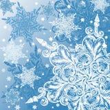 Fundo do Natal do floco de neve do Doodle ilustração do vetor