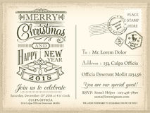 Fundo do Natal do vintage e do cartão do feriado do ano novo feliz Foto de Stock Royalty Free