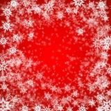Fundo do Natal dos flocos de neve em cores vermelhas Fotografia de Stock