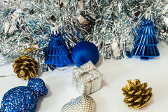 Fundo do Natal e do ano novo decorados Fotos de Stock Royalty Free