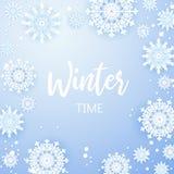 Fundo do Natal, flocos de neve brancos no cinza Quadro quadrado com decoração Projeto do molde do inverno para cartazes, insetos ilustração do vetor