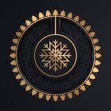Fundo do Natal do ouro do floco de neve na cor preta ilustração do vetor
