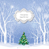 Fundo do Natal Paisagem do inverno da neve Cristo alegre retro Fotografia de Stock