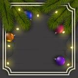 Fundo do Natal Quadro de filiais de árvore do Natal Com uma festão das luzes e de bolas brilhantes ilustração stock