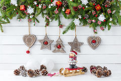 Fundo do Natal Ramo de árvore decorado do abeto do Natal, decoração do Natal Fotografia de Stock