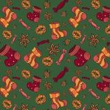 Fundo do Natal do teste padrão do vetor com doces e peúgas ilustração stock