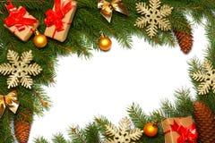 Fundo do Natal Vista superior com espaço da cópia árvore de abeto com o cone isolado no fundo branco Fotografia de Stock