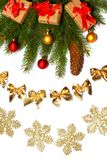 Fundo do Natal Vista superior com espaço da cópia árvore de abeto com o cone no fundo branco Fotografia de Stock