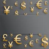 Fundo do negócio com vário símbolo do dinheiro do ouro Fotografia de Stock Royalty Free
