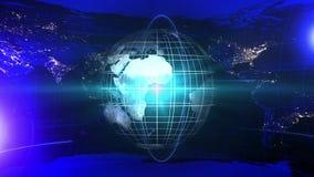 Fundo do notici?rio com mapa do mundo Neg?cio no mundo inteiro global Telejornal Anima??o do la?o ilustração royalty free