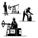 Fundo do oilman da silhueta na infraestrutura Imagem de Stock