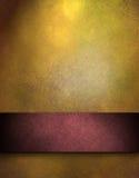 Fundo do ouro com a listra vermelha para o texto ou o título Imagem de Stock Royalty Free