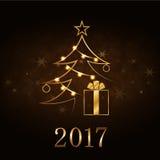 Fundo do ouro do ano novo feliz de árvore de Natal Fotografia de Stock