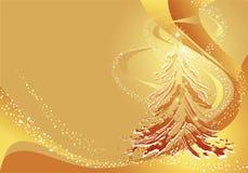 Fundo do ouro do Natal com árvore Fotografia de Stock