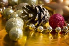Fundo do ouro do Natal Fotografia de Stock