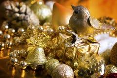 Fundo do ouro do Natal Fotos de Stock Royalty Free
