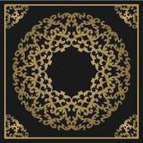 Fundo do ouro do vintage, quadro decorativo quadrado do vetor com pla Imagens de Stock