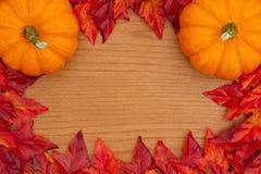 Fundo do outono com abóboras e vermelho e folhas alaranjadas da queda imagem de stock royalty free