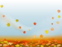 Fundo do outono com folhas de plátano coloridas ilustração do vetor