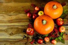 Fundo do outono com vegetais e frutos sazonais Fotografia de Stock Royalty Free