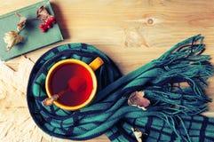 Fundo do outono - copo do chá, do livro velho e do lenço morno no fundo de madeira Do outono vida ainda Fotos de Stock Royalty Free