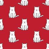 Fundo do papel de parede da garatuja do gatinho do vetor de Cat Seamless Pattern isolado ilustração do vetor
