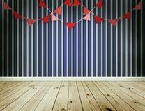 Fundo do papel de parede da listra com festão das flâmulas Fotos de Stock Royalty Free