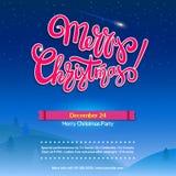 Fundo do partido do Feliz Natal com rotulação Paisagem do inverno da noite com abeto Cartaz para o evento dos feriados, pronto Imagens de Stock Royalty Free