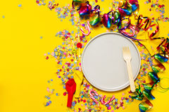Fundo do partido ou do carnaval ou conceito do partido com artigos do divertimento Foto de Stock Royalty Free