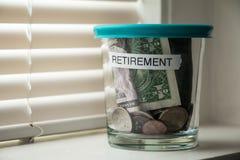 Fundo do planeamento de aposentação em um frasco Fotografia de Stock Royalty Free