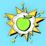 Fundo do pop art Bolha do texto da explosão Nutrição apropriada, maçã verde Vetor ilustração do vetor