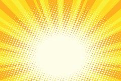 Fundo do pop art do nascer do sol dos desenhos animados do ouro amarelo ilustração stock