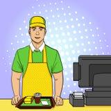 Fundo do pop art, ponto Um indivíduo novo no uniforme trabalha na bilheteira do fast food Estilo cômico, alimento, vetor Imagens de Stock