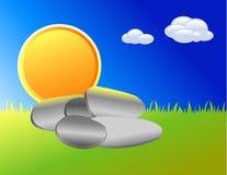 Fundo do por do sol dos desenhos animados com rochas Fotos de Stock Royalty Free