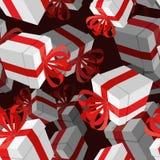 Fundo do presente 3D Caixa branca festiva e curva vermelha Fotografia de Stock Royalty Free