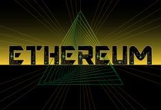 Fundo do preto do amarelo do texto de Ethereum com microplaqueta futurista Vect ilustração do vetor