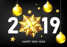 Fundo do preto do ano 2019 novo com curva e as bolas douradas do presente ilustração stock