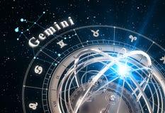 Fundo do preto de Gemini And Armillary Sphere On do sinal do zodíaco Fotografia de Stock Royalty Free