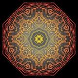 Fundo do preto do amarelo do vermelho alaranjado da mandala Imagem de Stock Royalty Free