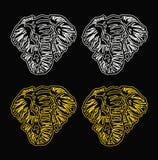 Fundo do preto do esboço da cabeça do elefante do teste padrão Fotografia de Stock