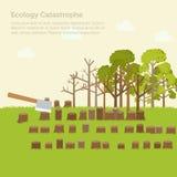 Fundo do projeto da ilustração do desflorestamento da edição Fotos de Stock