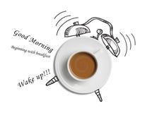 Fundo do projeto de conceito do relógio de ponto do copo de café Imagem de Stock