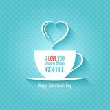 Fundo do projeto do copo de café do dia de Valentim Imagens de Stock Royalty Free